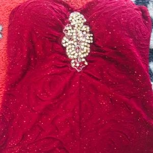 Tops - A red rose with red sparkles, strapless top